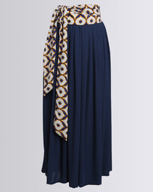 Black Buttons Wide Leg Flared Pants Navy