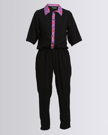Black Buttons Miss E Jumpsuit Black