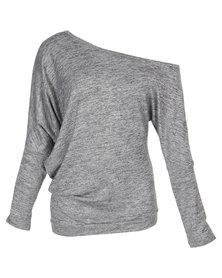 N'Joy Off Shoulder Long Sleeve Top Light Grey Melange