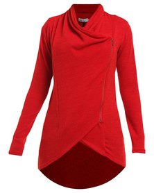 Nucleus Waiting Room Cardigan Charcoal Red