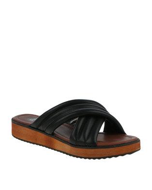 Image of Footwork Kiara Slip On Chunky Flatform Sandal Black