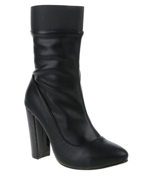 Image of Footwork Poppy Heeled Mid-Calf Boots Black