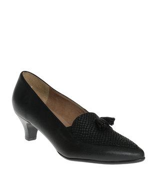 Image of Froggie Spring Leather Tassel Kitten Heel Court Shoe Black