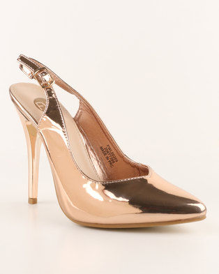 6f0ca788d07 Footwork Kai High Heel Slingback Court Shoe Rose Gold - Footwork