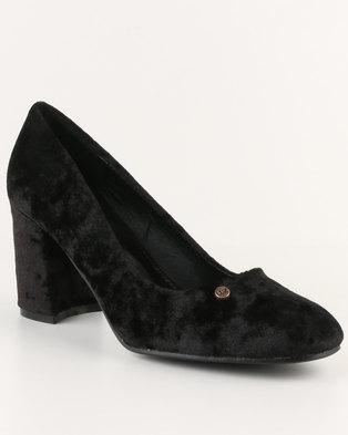 1db507bd6e1 Urban Zone Block Heel Court Shoes Black - Urban Zone