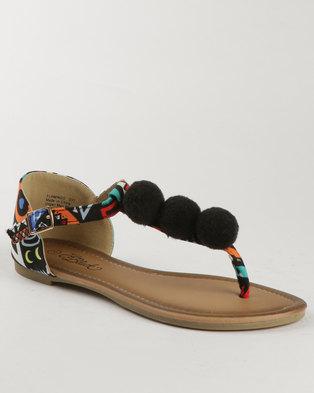 f609fb488 Miss Black Angler Printed Flat Sandals Black - Miss Black