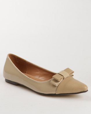 Image of Gino Paoli Patent Flats with Bow Detail Beige