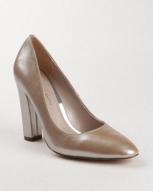 Zando SA Sissy Boy Metallic Almond Toe Block Heel Court Gold