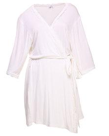40 Winks Lace Trim Robe Cream