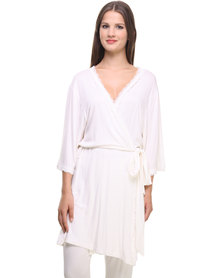 40 Winks Lace Trim Robe Cream