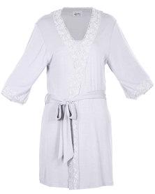 40 Winks Lace Trim Robe Grey