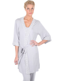 40 Winks Lace Trim Robe Grey