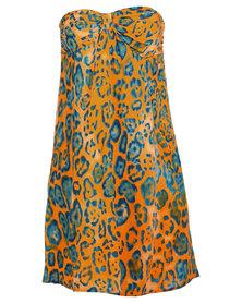 466/64 Graphic Animal Print Sleeveless A-Line Day Dress Orange