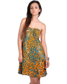 466/64 Graphic Animal Print Sleeveless A-Line Day Dress Orange