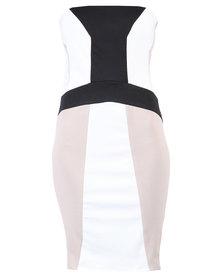46664 Tribal Colour Block Mini Dress Multi