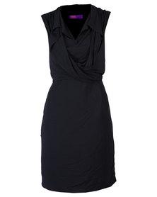 46664 Plain Engineered Cowl Neck Dress Black
