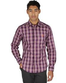 46664 Long Sleeve Check Shirt Purple
