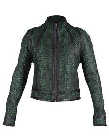 46664 Colour Block Biker Jacket Green