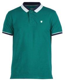 46664 Colourblock Golfer Shirt Teal