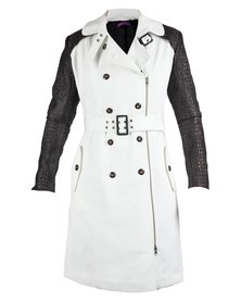 46664 Colour Block Quilted Trench Coat White