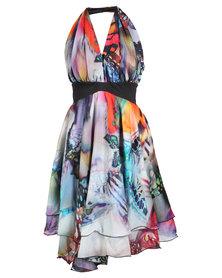 466/64 Butterfly Print Halter Flirty Dress Multi-Coloured