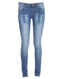 46664 Regular Skinny Jeans Medium Wash Blue