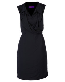 46664 Plain Engineered Cowl Neck Dress Black