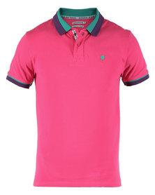 46664 Contrast Stripe Collar Golfer Shirt Pink