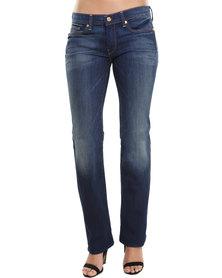7 For All Mankind High Waist Straight Leg Jeans Blue