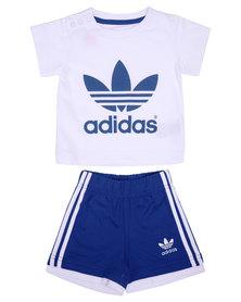adidas Tee and Shorts Set White/Blue