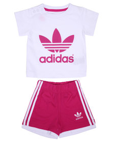 adidas Tee and Shorts Set Pink/White