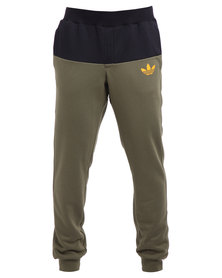 adidas Duo Slim Sweatpants Olive and Black