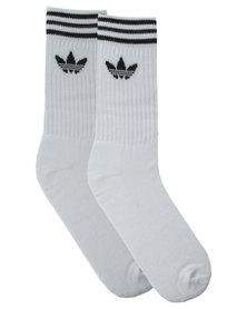 Adidas 3 Pack Originals Crew Socks White & Black