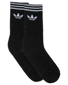 Adidas 3 Pack Originals Crew Socks Black & White