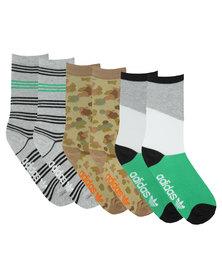 Adidas 3 Pack Originals Assorted Crew Socks Multi-Colour