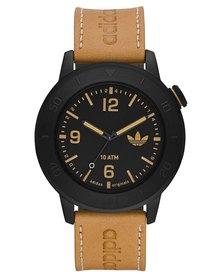 adidas Originals Manchester Leather Strap Watch Tan