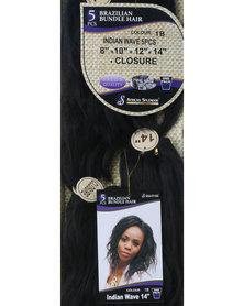 African Splendor Indian Wave 5 Piece Hair Extension 14' Natural Black