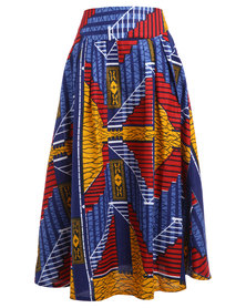 Afrodizzy Maxi Skirt Red and Blue Print