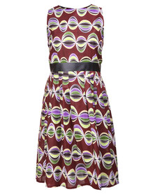Afrodizzy Pleated Skater With Pleather Detail Waistband Multi