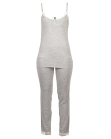 After Eden Casual Lounge Top And Pants Grey