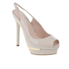 ALDO Buckled Slingback Sandal with Metallic Hardware Sole Atop Covered Island Platform Nude