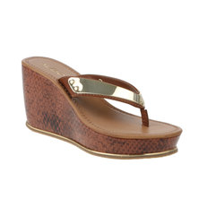 ALDO Ladies PU Thong Cork Wedges with TPU Ornament Multi