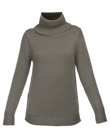 All About Eve Sundays Roll Neck Knit Khaki