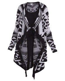 All About Eve Blanket Cardi Black/Grey