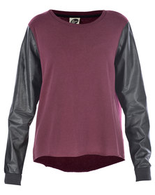 All About Eve Killer Crew Neck Top Burgundy