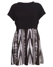 All About Eve Basket Dress Black