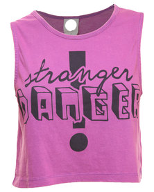 All About Eve Stranger Danger Muscle Tank Top Purple