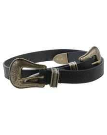 All Heart Ladies Belt with Antique Buckles Black/Gold-tone