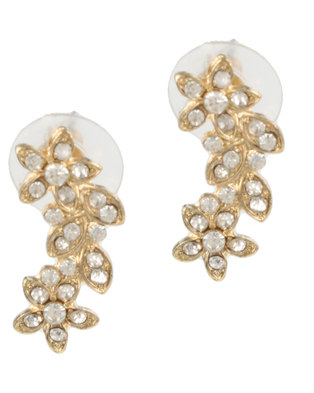 All Heart Floral Long Earrings Gold-tone