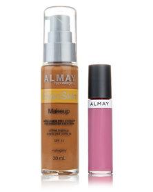Almay EvenSkin Makeup Mahogany and Free Lipgloss Blooming Balm